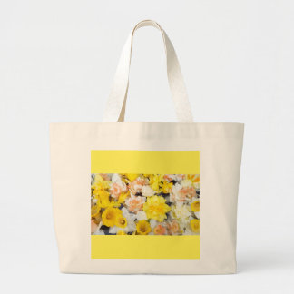 Beautiful photo spring daffodils floating on water large tote bag