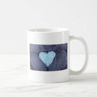 Beautiful photograph of blue wool heart coffee mug