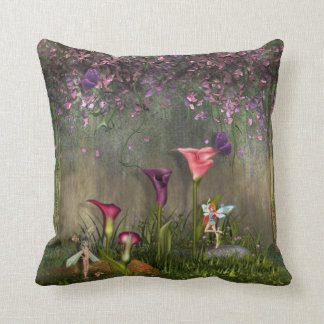 Beautiful Pillow with Flowers & Fairies