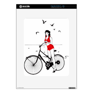 Beautiful pin-up girl on bicycle. Elegant stylish Decals For iPad