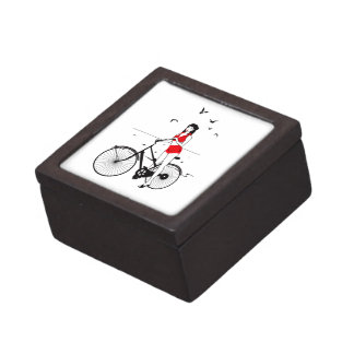 Beautiful pin-up girl on bicycle. Elegant stylish Gift Box