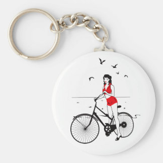 Beautiful pin-up girl on bicycle. Elegant stylish Keychain