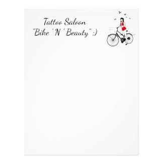 Beautiful pin-up girl on bicycle. Elegant stylish Letterhead