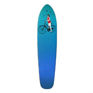 Beautiful pin-up girl on bicycle. Elegant stylish Skateboard