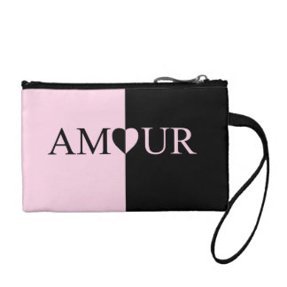 Beautiful Pink and Black AMOUR Heart Clutch