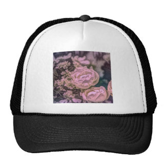 Beautiful pink and blue floral design mesh hats