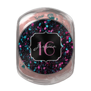 Beautiful pink and blue mosaic Sweet 16 Candy jar Jelly Belly Candy Jar