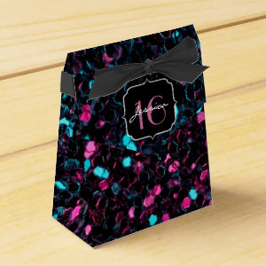 Beautiful pink and blue mosaic  favor box