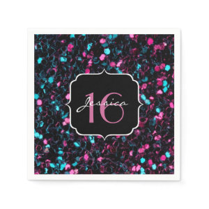 Beautiful pink and blue mosaic Sweet 16 napkins Standard Cocktail Napkin