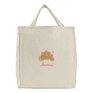 Beautiful Pink And Gold Pumpkin Carriage Embroidered Tote Bag