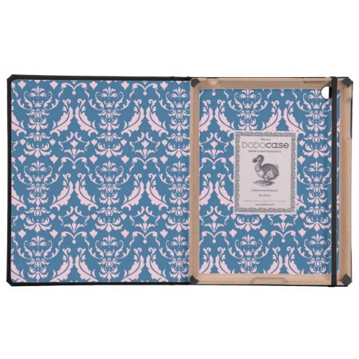 Beautiful Pink and Midnight Blue Damask Cover For iPad