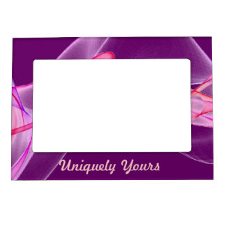Beautiful Pink and Purple on Purple Background Magnetic Photo Frames