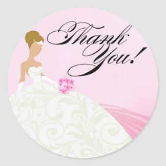 Beautiful Pink and White Luxe Thank You Classic Round Sticker