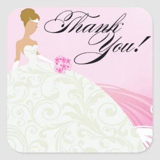 Beautiful Pink and White Luxe Thank You Square Sticker
