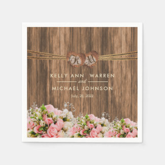 Beautiful Pink and White Roses on Wood Napkin