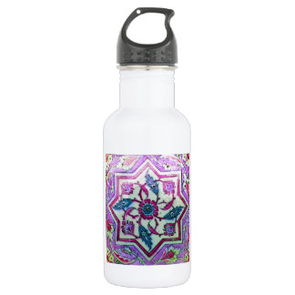 Beautiful Pink and White Tile With hHnts of gGeen Stainless Steel Water Bottle
