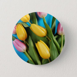 Beautiful pink and yellow spring tulips pinback button