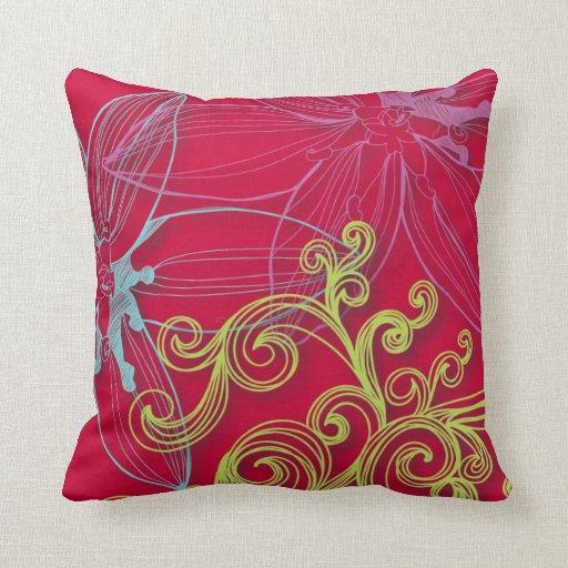 Pink Floral Decorative Pillows : Beautiful Pink & Aqua Vintage Floral Throw Pillows Zazzle