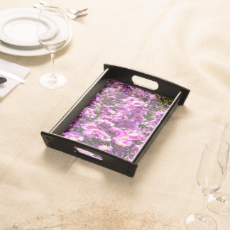 Beautiful Pink Aster Flowers Serving Tray