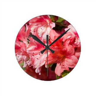 Beautiful Pink Azaleas Round Wall Clock