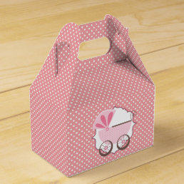 Beautiful Pink Baby Carriage Baby Shower Favor Box