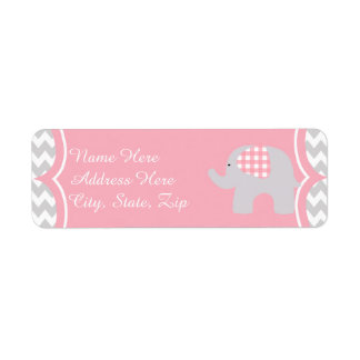 Beautiful Pink Baby Shower Adorable Elephant Label