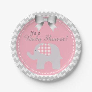 beautiful pink baby shower custom cute elephant 7 inch paper plate