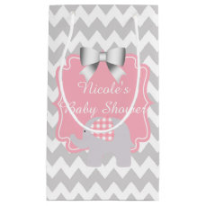 Beautiful Pink Baby Shower Custom Cute Elephant Small Gift Bag