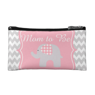 Beautiful Pink Baby Shower Party Custom Elephant Makeup Bag
