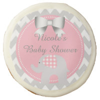 Beautiful Pink Baby Shower Party Custom Elephant Sugar Cookie