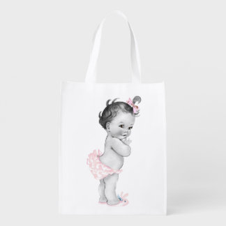 Beautiful Pink Baby Shower Vintage Girl Grocery Bag