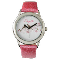 Beautiful Pink birds floral personalized design Wrist Watches
