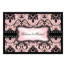 Beautiful Pink & Black Vintage Damask invitations