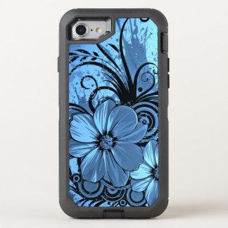 beautiful pink blue flowers vector art OtterBox defender iPhone 7 case