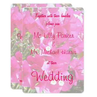 Beautiful Pink Bougainvillea Print Wedding Card