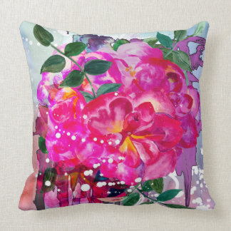 Beautiful pink bouquet of flowers throw pillow