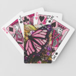 Beautiful Pink Butterfly Abstract Bicycle Playing Cards
