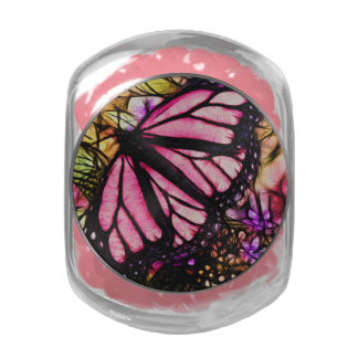 Beautiful Pink Butterfly Abstract Glass Candy Jar