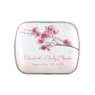 Beautiful Pink Cherry Blossom Baby Shower Favor Jelly Belly Candy Tins