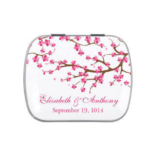 Beautiful Pink Cherry Blossom Wedding Favor Candy Candy Tins
