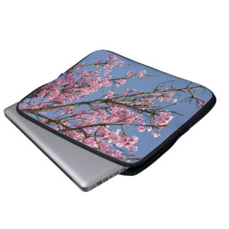 Beautiful pink cherry blossoms and blue sky laptop computer sleeves