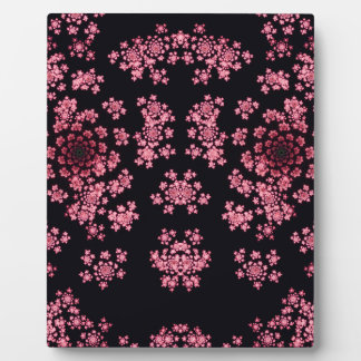 Beautiful pink computer generated  fractal flowers plaque