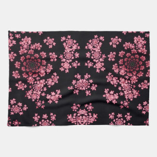 Beautiful pink computer generated  fractal flowers towel