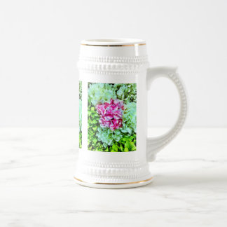 Beautiful Pink Cream Green Hydrangea Flowers Beer Stein