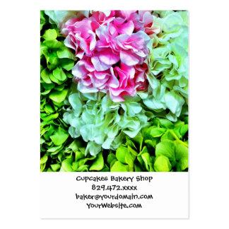 Beautiful Pink Cream Green Hydrangea Flowers Business Card Templates