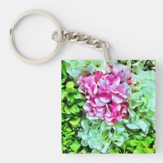 Beautiful Pink Cream Green Hydrangea Flowers Keychain