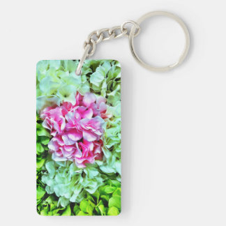 Beautiful Pink Cream Green Hydrangea Flowers Rectangle Acrylic Keychains