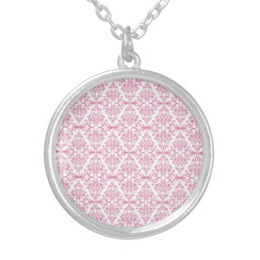 Beautiful Pink Diamond Scroll Pattern Round Pendant Necklace