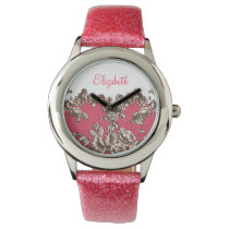 Beautiful Pink elegant floral personalized design Wristwatch