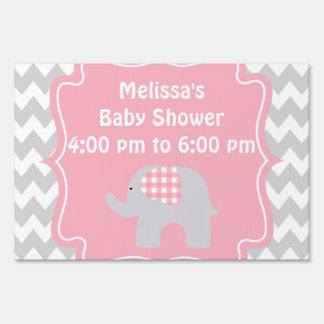 beautiful pink elephant baby shower yard sign